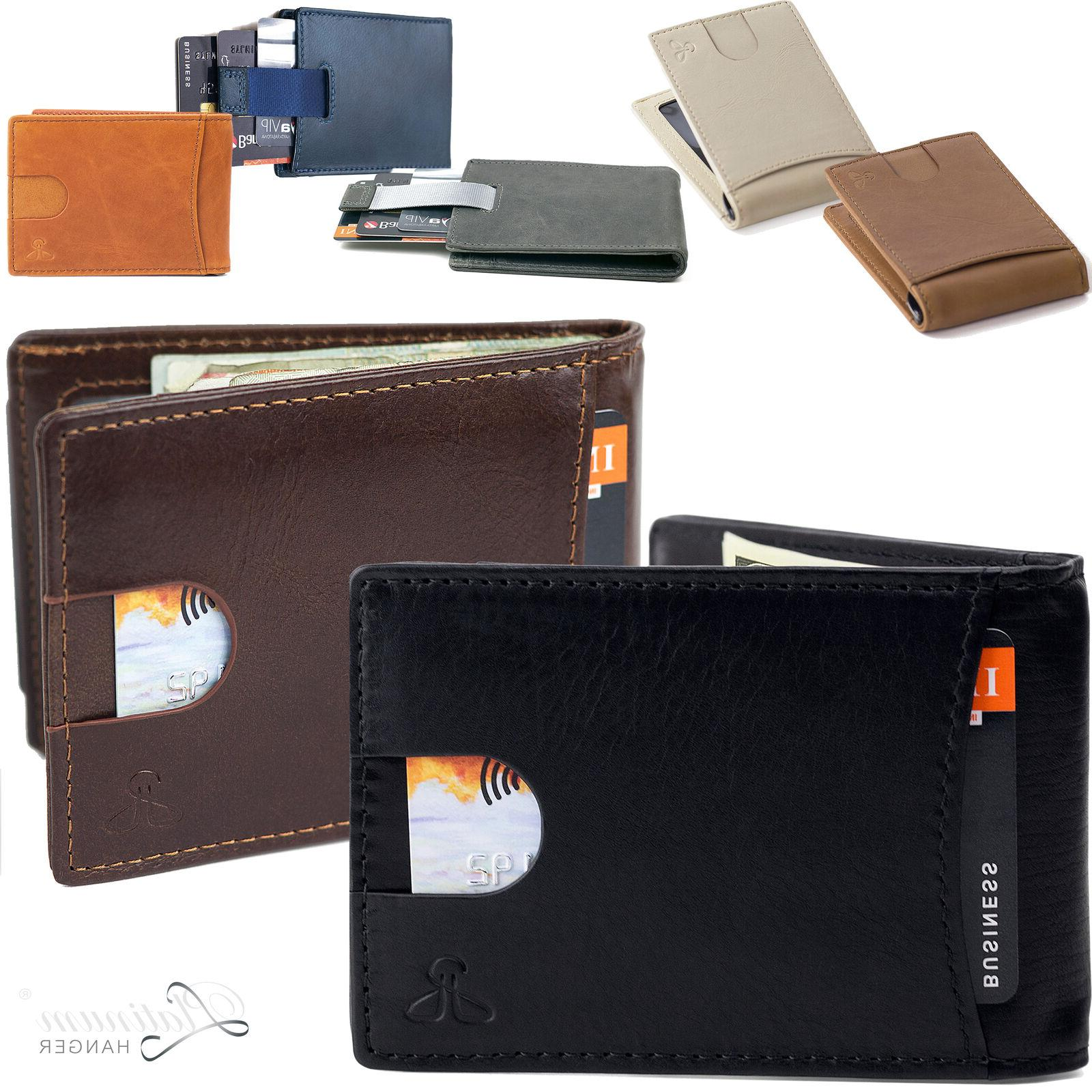 Mens Wallet Bifold Leather RFID Blocking Slim Wallets with M