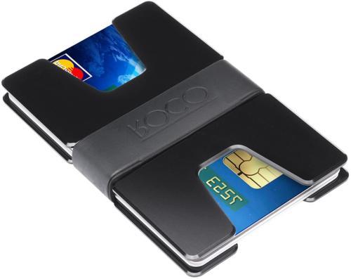 ROCO MINIMALIST Aluminum Slim Wallet RFID BLOCKING Money Clip No.2 Black
