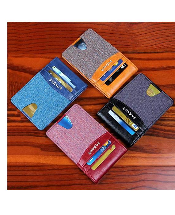 minimalist leather slim wallet rfid front pocket