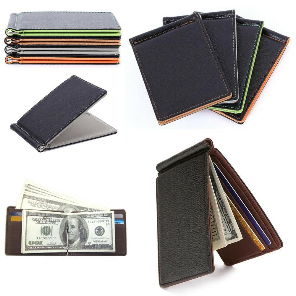 minimalist slim bifold wallet with money clip