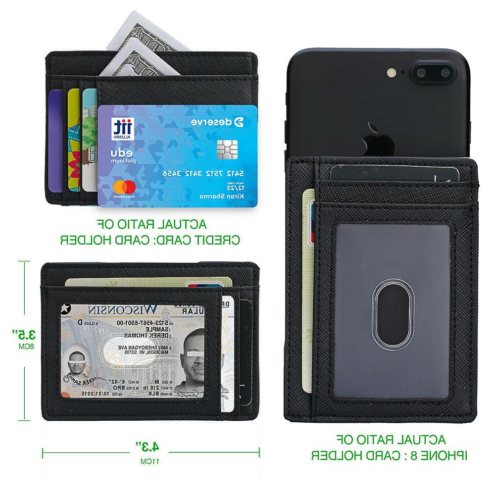 Minimalist Slim Leather Wallet Money Clip Holds Cards, with one ID