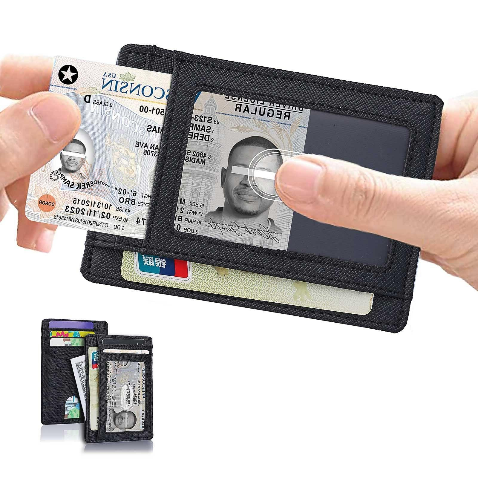Minimalist Slim Leather Money Holds 6 Cards, and with ID window