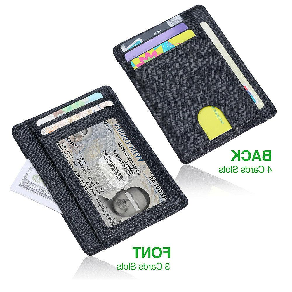 Minimalist Slim Leather Wallet Money Clip Cards, with ID