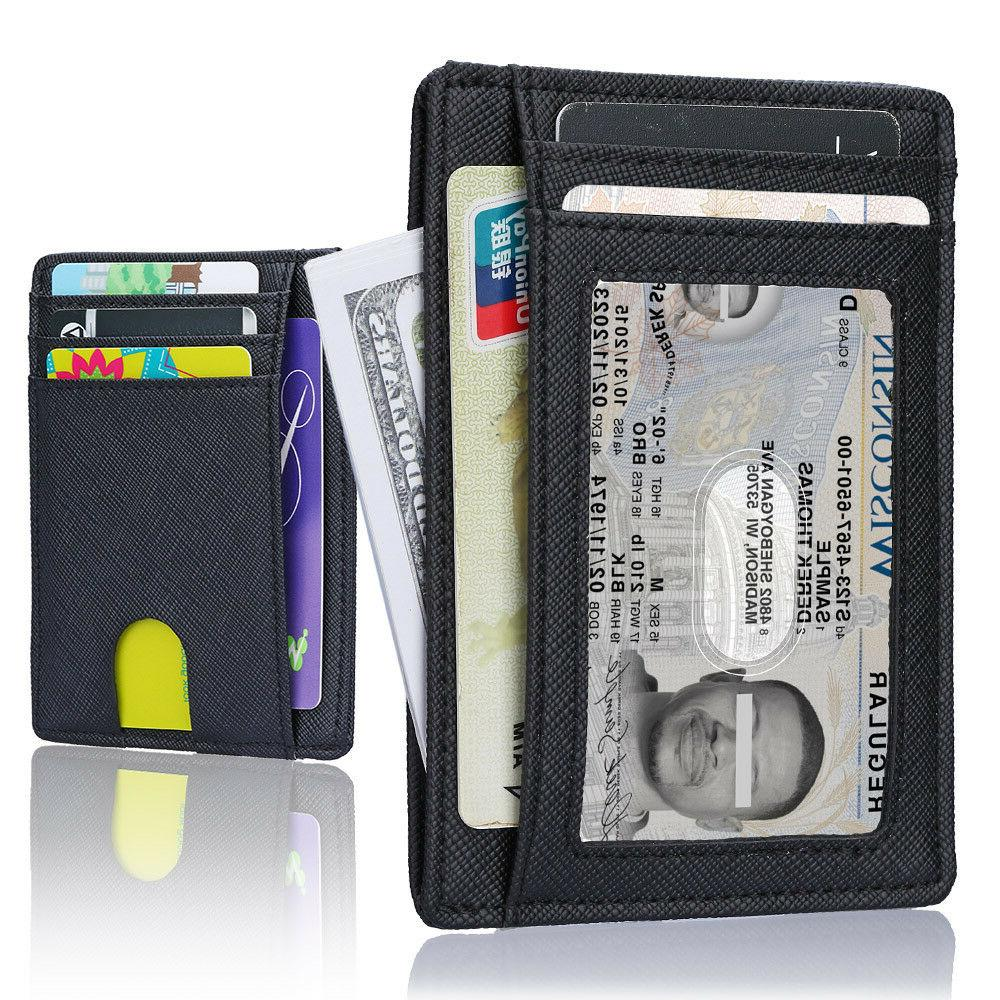 minimalist slim leather wallet money clip holds