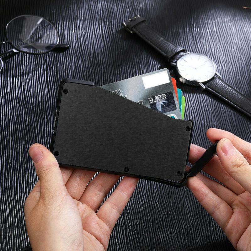 Metal Slim Wallet Front Pocket Minimalist Money