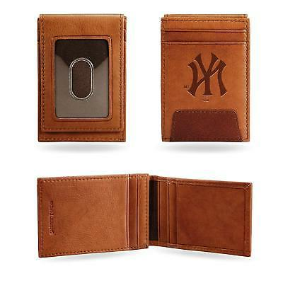 New York Yankees - MLB - Brown Leather Money Clip Front Pock