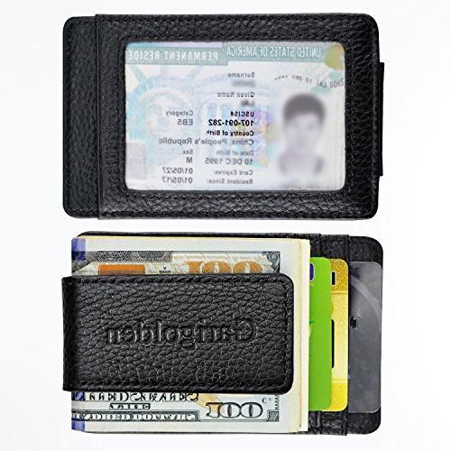 Garigolden Money Clip, Leather RFID Blocking Men