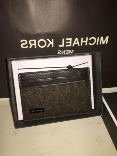 MICHAEL KORS MONEY CLIP CARD CASE NEW BROWN
