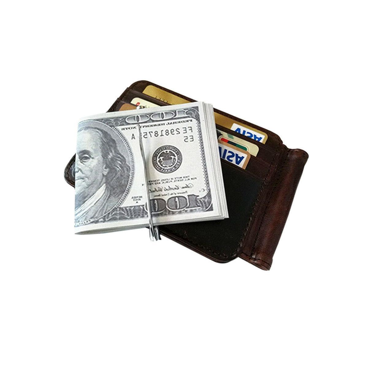 Money Clip Minimalist Genuine Leather Vintage Wallet