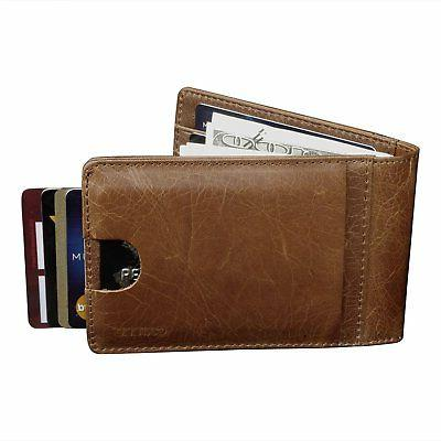 CAILLU Money Clip Leather Credit Card Wallet,Men'S Money Cli