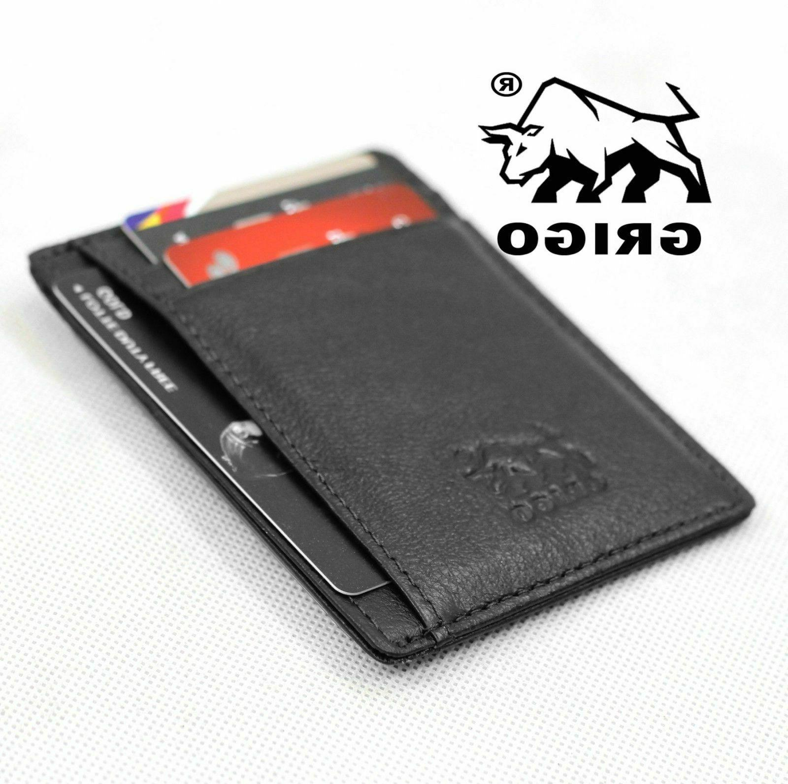 Money Clip Pocket Mens Vintage Slim Wallet