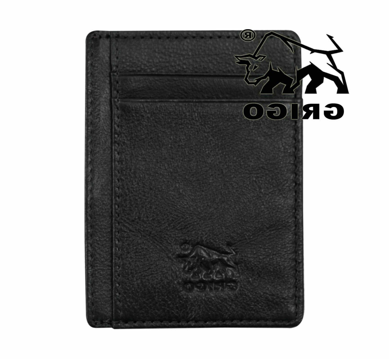Money Front Pocket Genuine Mens Vintage Slim Wallet