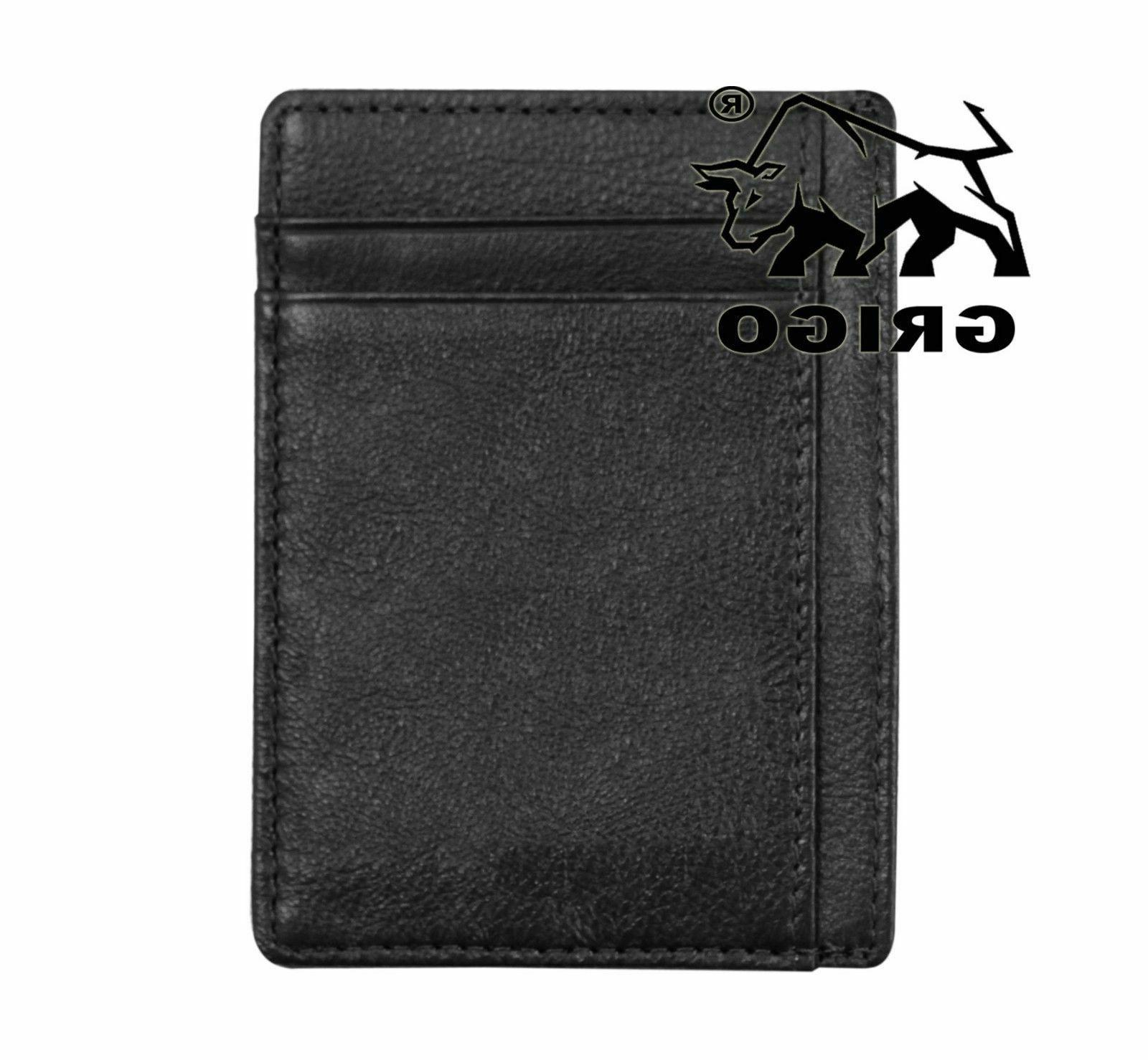Money Pocket Minimalist Leather Mens Vintage Slim Wallet