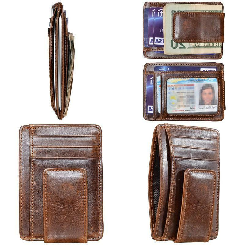 Hopsooken Money Clip Rfid Front Pocket Wallet Men Leather Sl