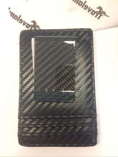 Travelambo Money Clip Wallet Slim Black Leather