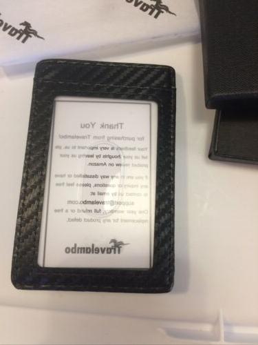 Travelambo Money Wallet Slim Minimalist Black Leather NIB