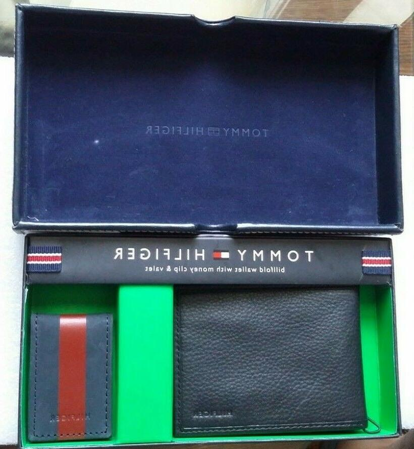 **MSRP **TOMMY HILFIGER BILLFOLD BLACK WITH MONEY CLIP VALET