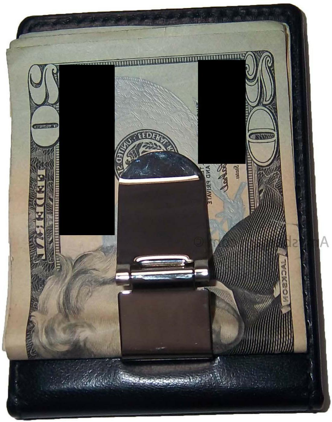 New Leather Money Clip 3 card 1 ID holder credit card holder