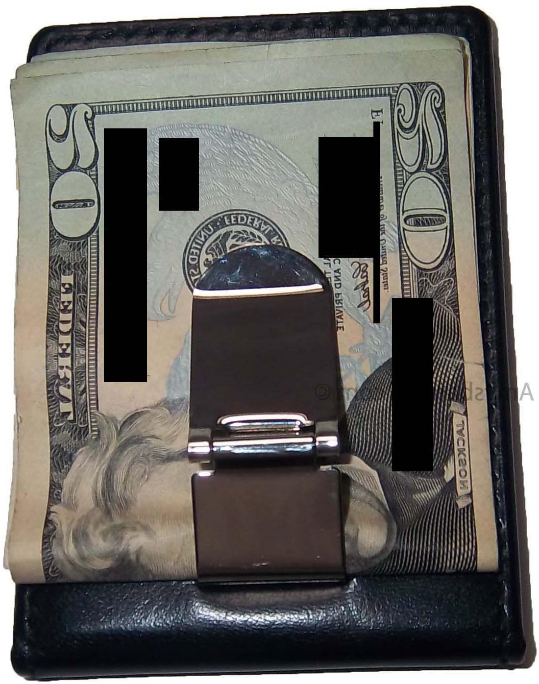 New Leather Money Clip holder credit silver clip