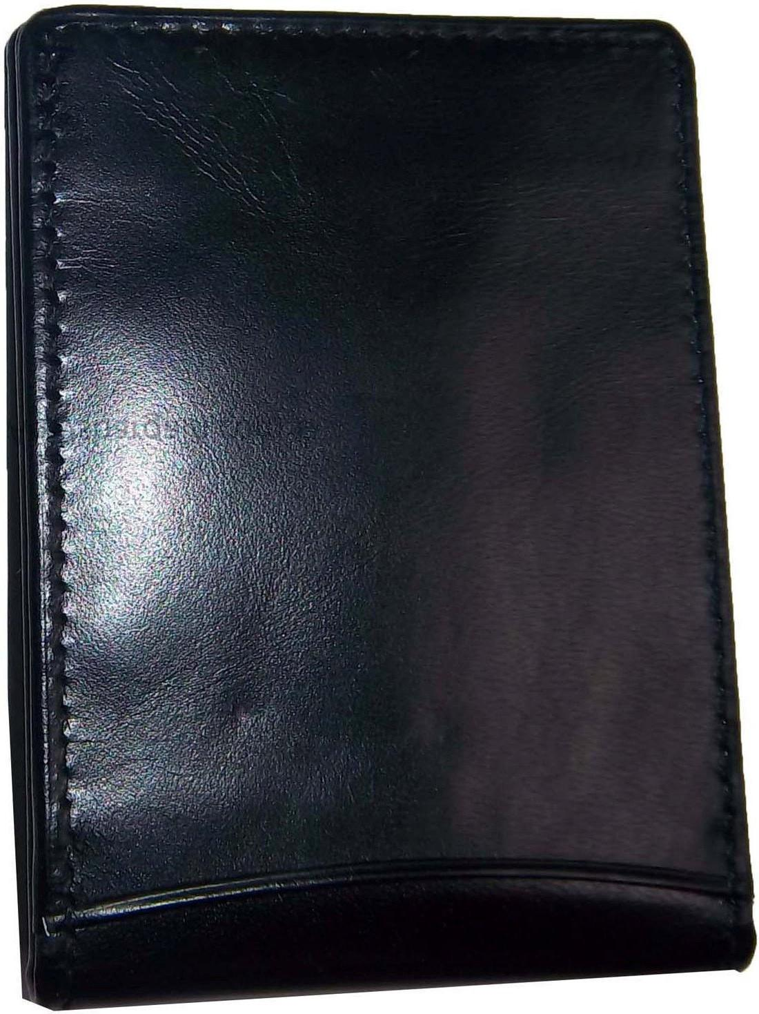 New Leather Money 3 card 1 ID holder silver clip