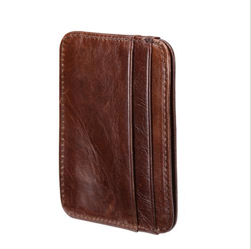 New Front Pocket Genuine Leather Mens Slim