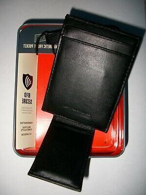 NIB Magnetic Money Bill Black Leather Secure