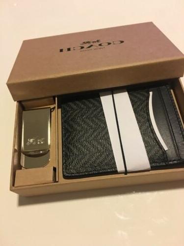 NWT 3 1 Herringbone Money Card F73112 Black