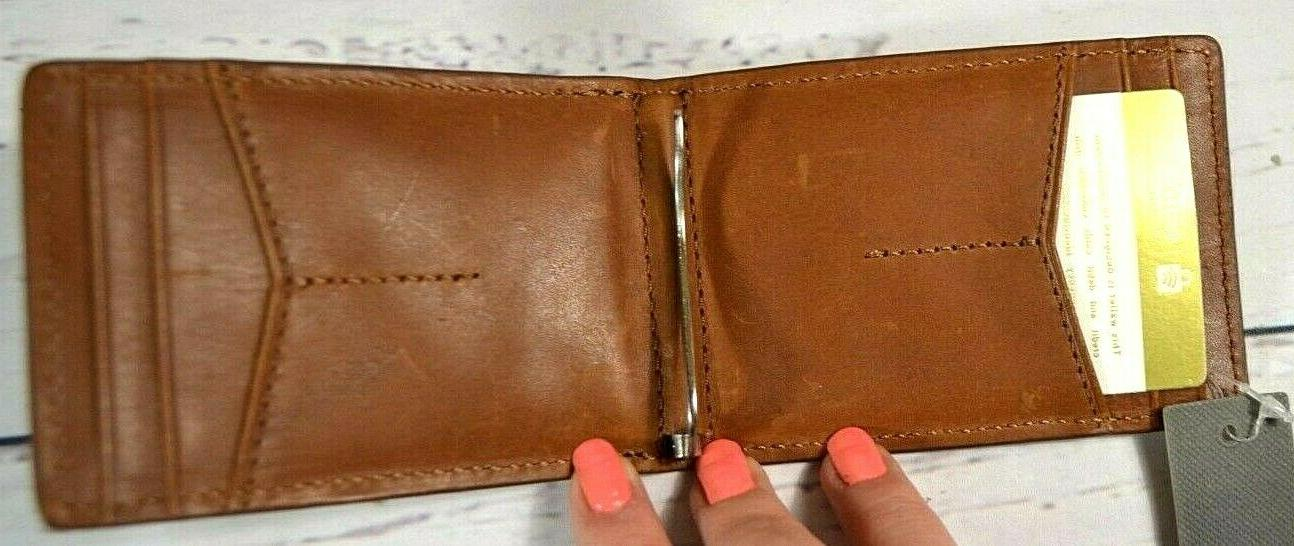 NWT FOSSIL COGNAC BROWN LEATHER WALLET