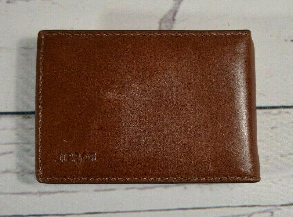 nwt cognac brown hugh genuine leather money