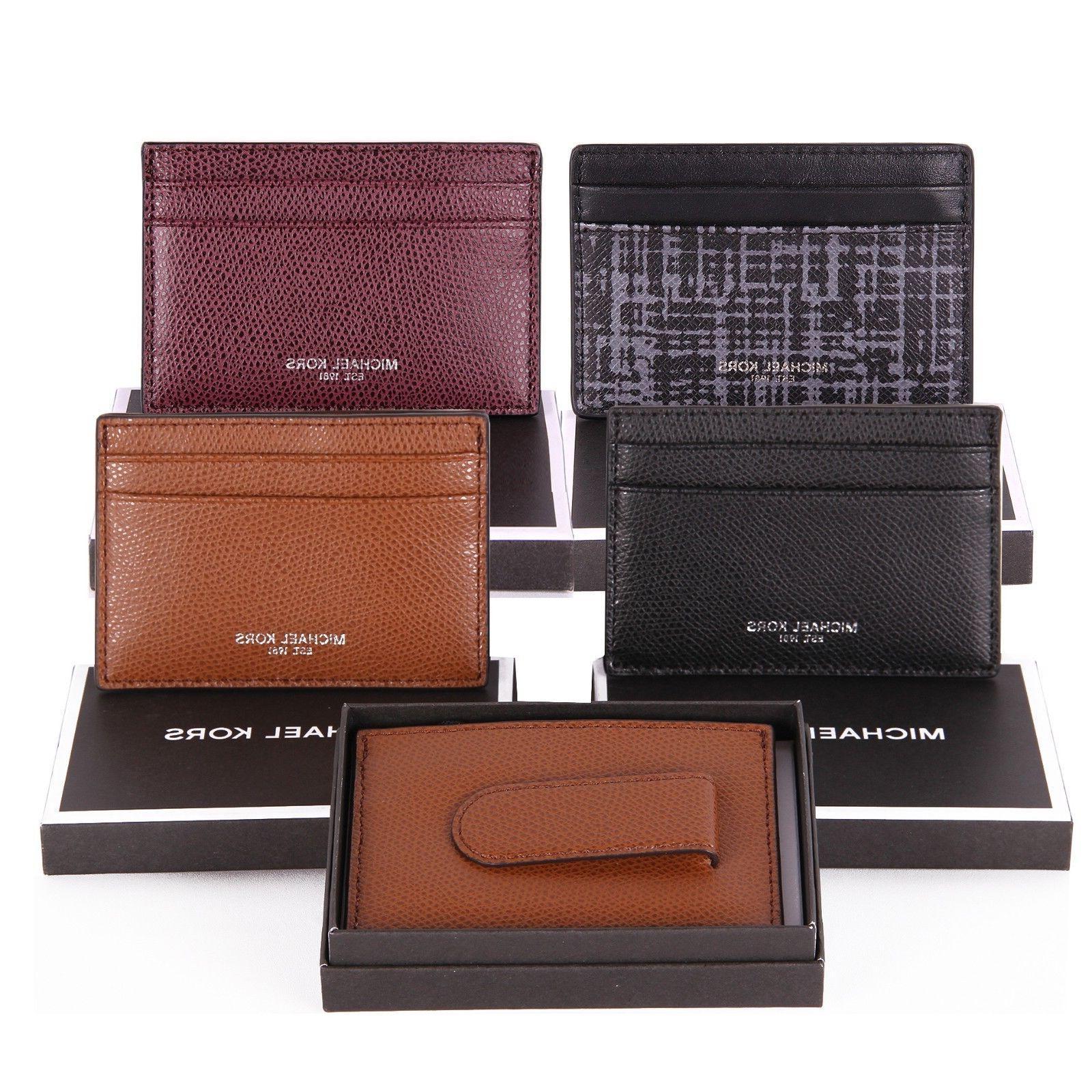 NWT Michael Kors Mens WARREN Leather Card Holder Case Money