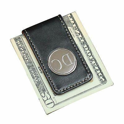 Personalized Engraved Clip with and Brown Leather