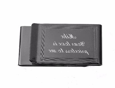 personalized gunmetal lined double sided money clip