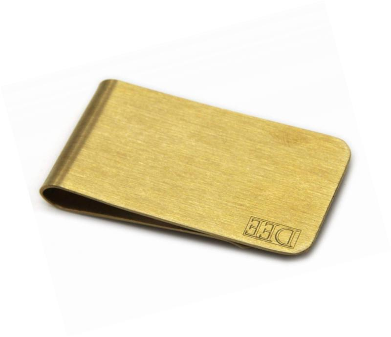 DEEZOMO Premium Polished Brass & Stainless Steel Money Clip