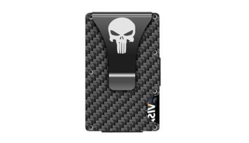 punisher custom minimalist fiber wallet with money
