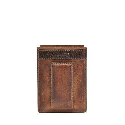 quinn leather magnetic card case slim money