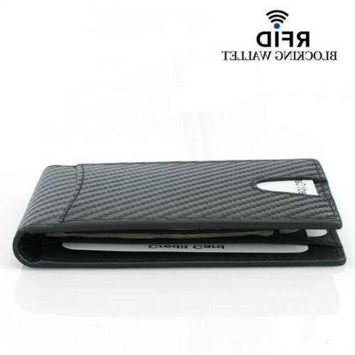 Real Wallet For with Clip Fiber RFID Blocking