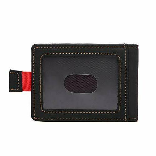Real Leather Slim For With Money Clip Mens Wallet