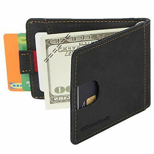 Real For Men With Money Clip RFID Mens