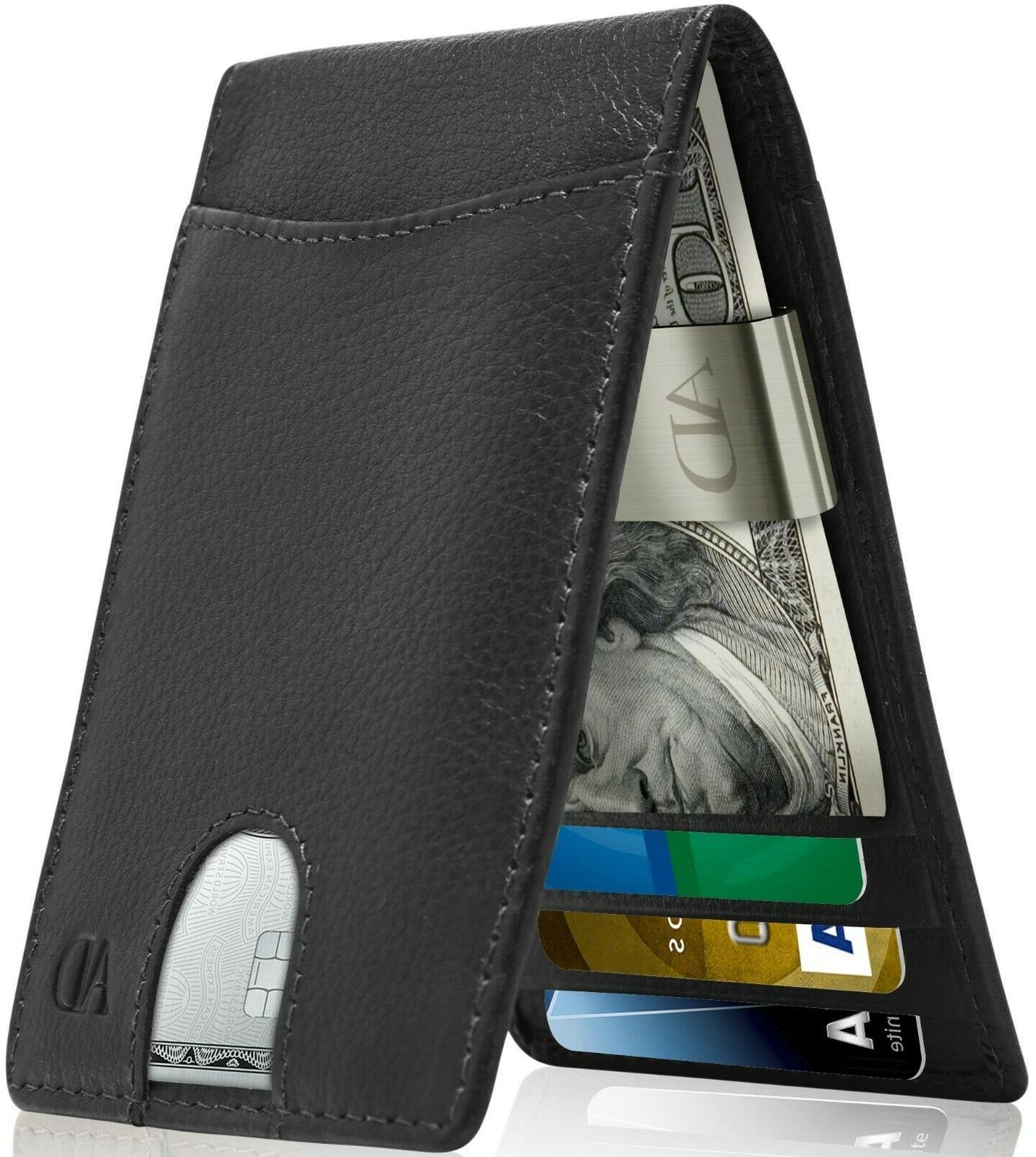 real leather slim wallets for men