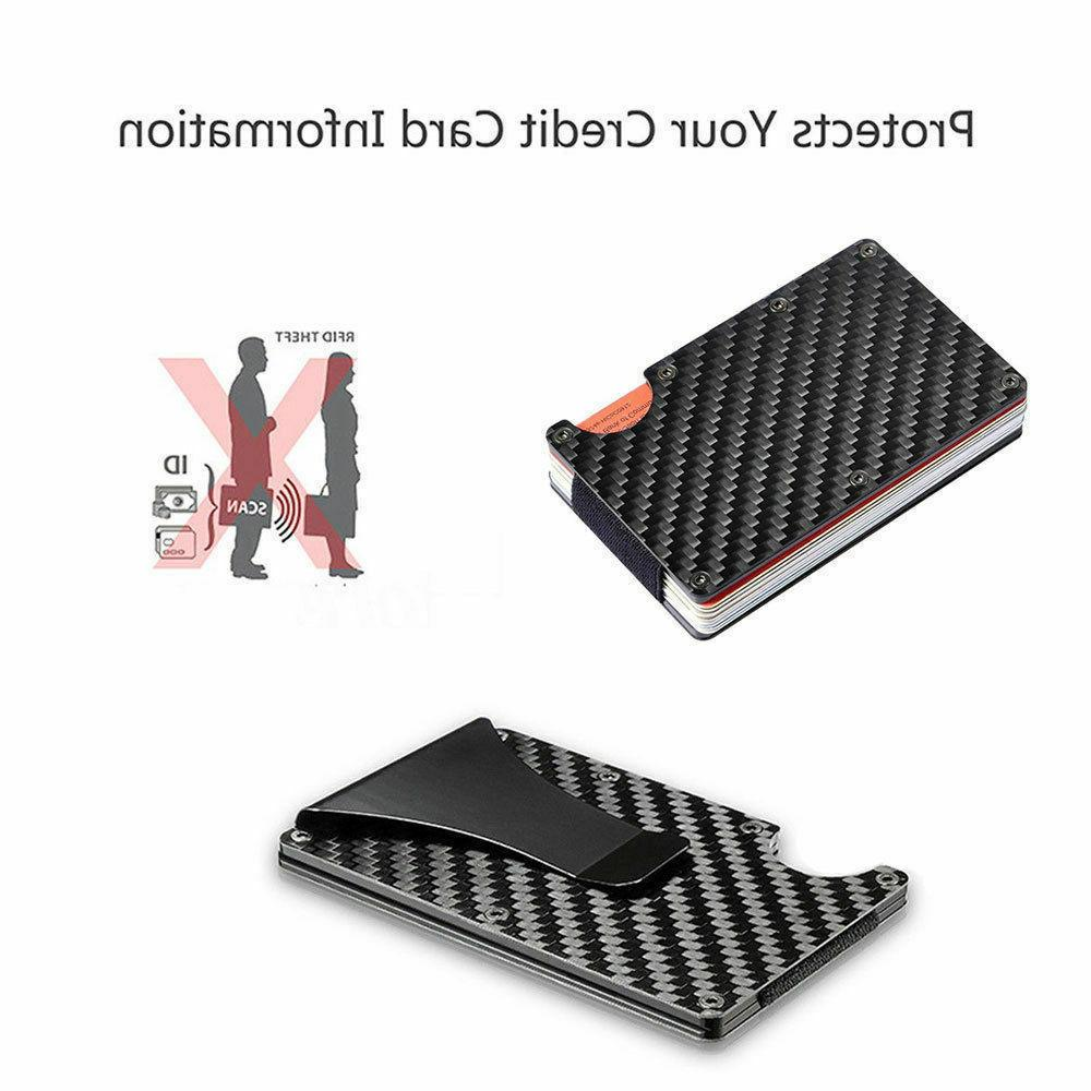 RFID Slim Fiber Money Clip Holder Men's Wallet Gift