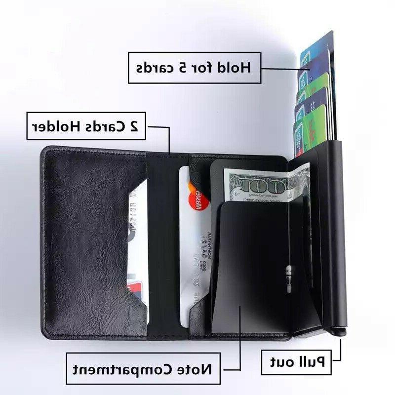 RFID Blocking Genuine Leather Credit Card Cash Wallet Purse