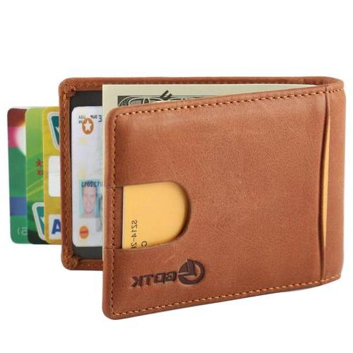 GDTK RFID Blocking Leather Slim Minimalist Wallet Front Pock