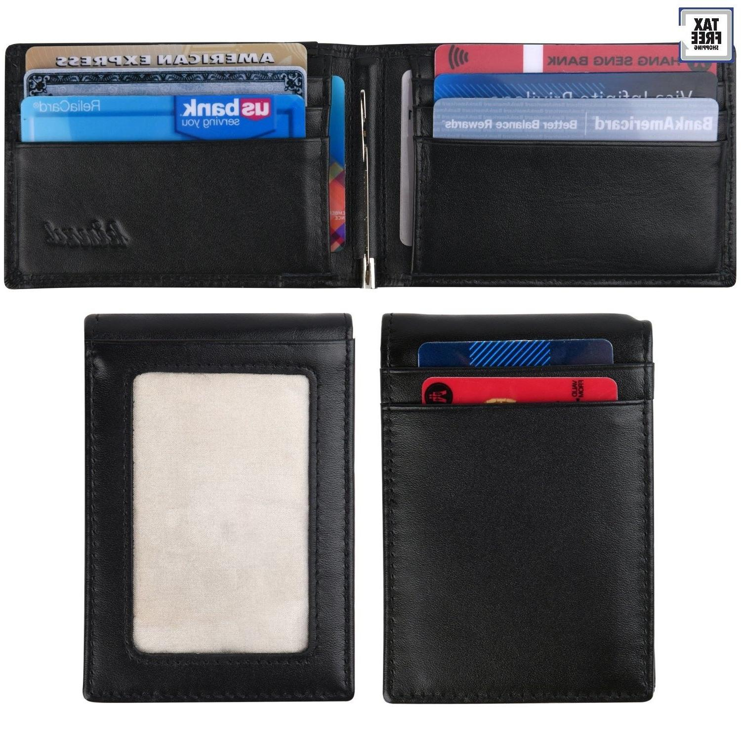 Kinzd RFID BLOCKING Mens Slim Bifold Front Pocket Leather Wa