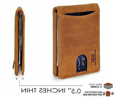 RFID Leather Pocket Wallets for Clip