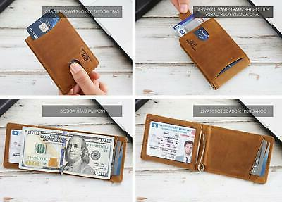 RFID Genuine Leather Front Pocket Wallets for Men with Money Clip