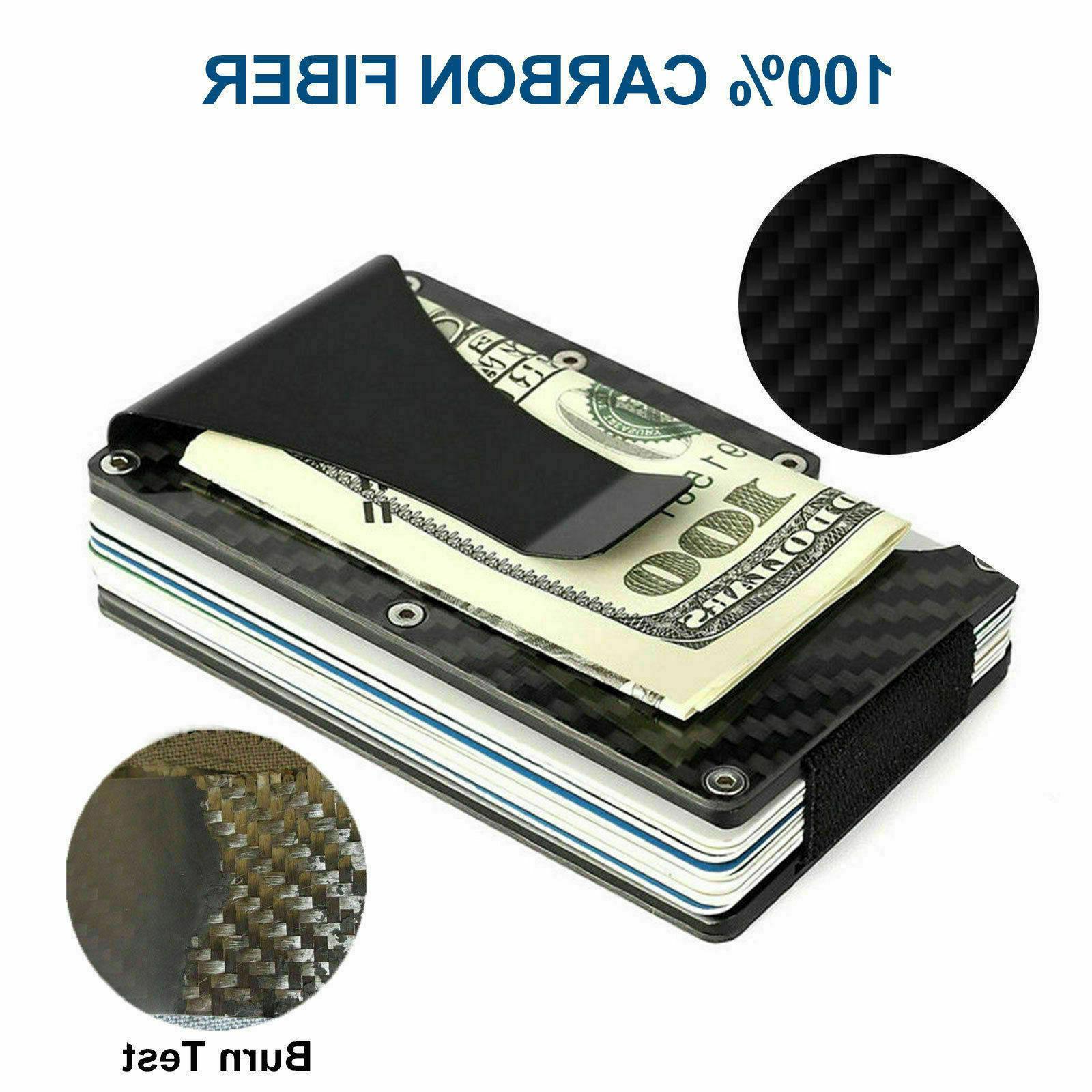 Carbon Fiber Money Wallet Men RFID Minimalist