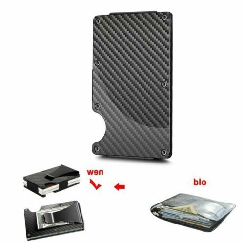 RFID Blocking Wallet Slim Money Carbon Metal