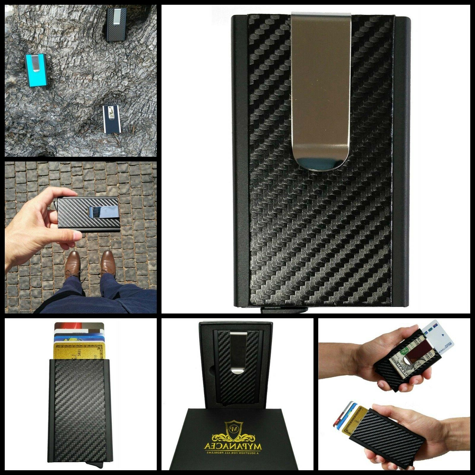 RFID Credit Card Holder Automatic Pop Up Sliding Aluminum Wa