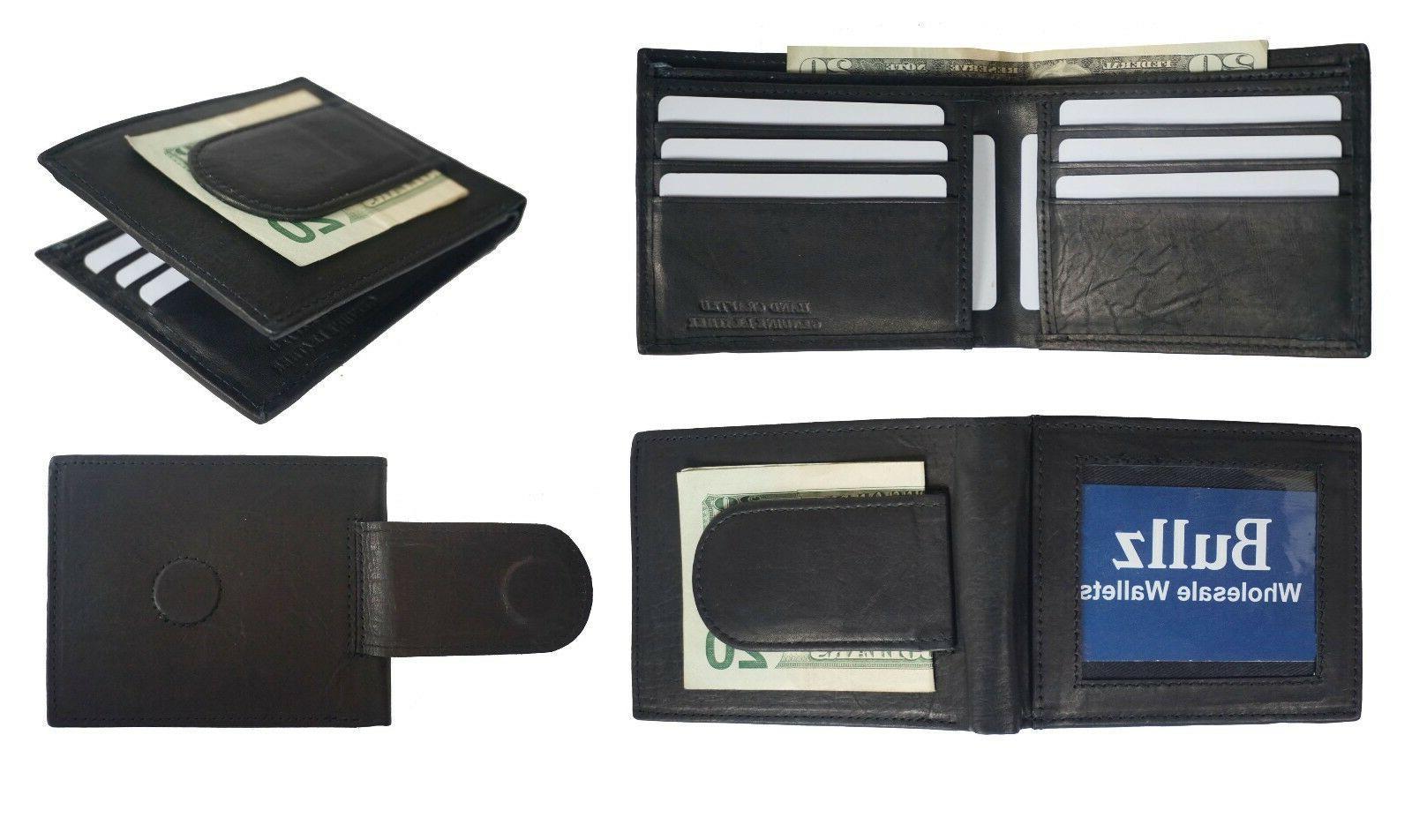 rfid leather bifold slim card holder front