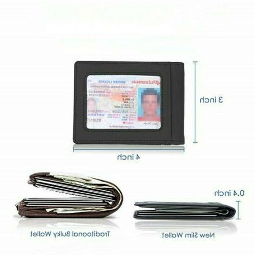 RFID Men's Leather Front Credit Card Holder